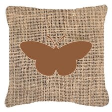 Butterfly Burlap Square Fade Resistant Indoor/Outdoor Throw Pillow