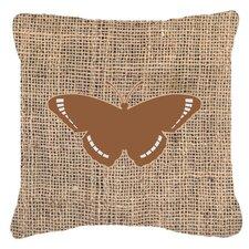 Butterfly Graphic Print Burlap Fade Resistant ndoor/Outdoor Throw Pillow