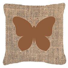 Butterfly Burlap Fade Resistant Indoor/Outdoor Throw Pillow
