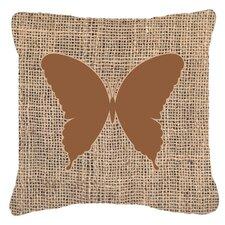 Elegant Butterfly Burlap Fade Resistant Indoor/Outdoor Throw Pillow