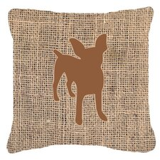 Chihuahua Burlap Fade Resistant Indoor/Outdoor Throw Pillow