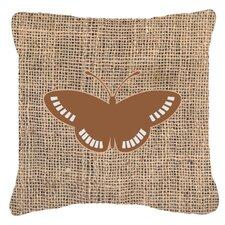 Butterfly Burlap Square Mildew Resistant Indoor/Outdoor Throw Pillow