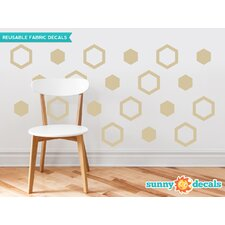 Hexagon Fabric Wall Decal (Set of 16)