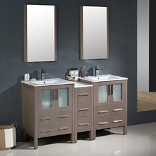 Torino 60 Double Modern Bathroom Vanity Set with Mirror by Fresca