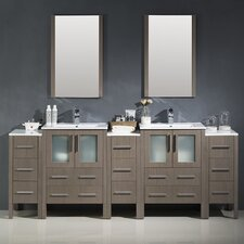 Torino 84 Double Modern Bathroom Vanity Set with Mirror by Fresca