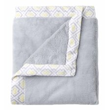 Classic Collection Gray Cuddle Plush Blanket with Printed Valboa Border
