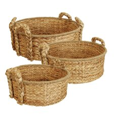 3 Piece Round Home Decor Basket Set