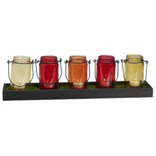 5 Light Warm-Tone Mason Jar Tealight Garden