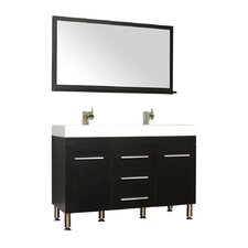 Waldwick 48 Double Modern Bathroom Vanity Set with Mirror by Wade Logan