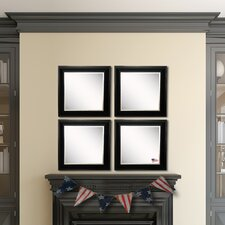 Ava Grand Black and Aged Silver Wall Mirror (Set of 4)