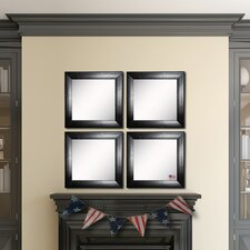 Ava Stitched Black Leather Wall Mirror (Set of 4)