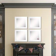 Ava White Satin Wide Wall Mirror (Set of 4)