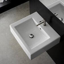 "Ceramic 20"" Wall Mounted Sink with Overflow"