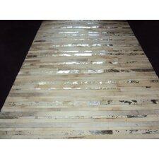Patchwork Stripe Silver Area Rug
