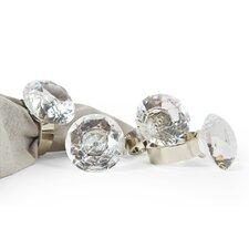 Bling Diamond Engagement Ring Metal Napkin Ring (Set of 4)