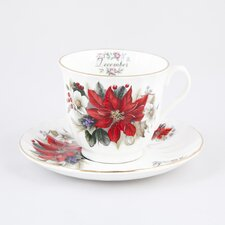 Flowers of the Month December 30cm Bone China Cup and Saucer