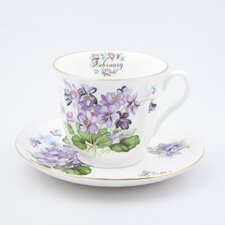 Flowers of the Month February 30cm Bone China Cup and Saucer