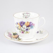 Flowers of the Month January 30cm Bone China Cup and Saucer
