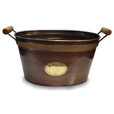 Copper Oval Tub with Brass Band and Badge