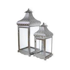 2 Piece Energicus Lantern Set in Silver
