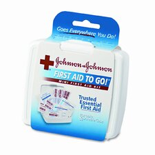 Mini First Aid To Go Kit, 12 Pieces, Plastic Case (Set of 4)
