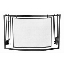 Curved Single Panel Fireplace Tool Set and Screen