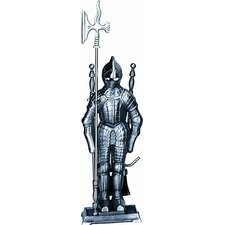 Mini Triple Pleated Soldier Pewter Fire Tool Set With Stand