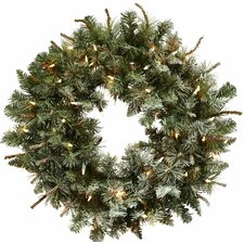"""30"""" Lighted Frosted Pine Wreath"""