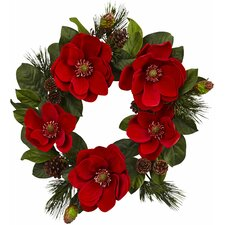 """24"""" Red Magnolia and Pine Wreath"""