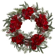 """22"""" Orchid, Berry and Pine Holiday Wreath"""