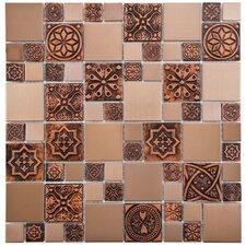 Random Sized Metal/Porcelain/Resin Mosaic Tile in Copper