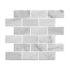 "2.88"" x 3.88"" Stone Mosaic Tile in White"