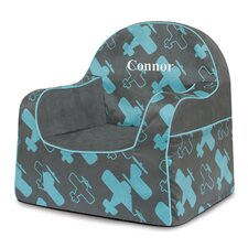 Little Reader Planes Personalized Kids Foam Chair with Storage Compartment