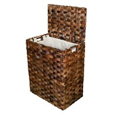 Abaca Flate Weave Wicker Laundry Hamper