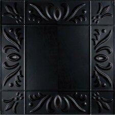 """11"""" x 11"""" Metal Hand-Painted Tile in Black"""