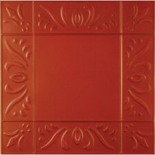 """11"""" x 11"""" Metal Hand-Painted Tile in Red"""