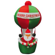 Inflatable Santa in Hot Air Balloon Lighted Christmas Decoration