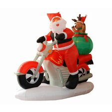 6.5' Inflatable Santa Claus on Motorcycle Lighted Christmas Decoration