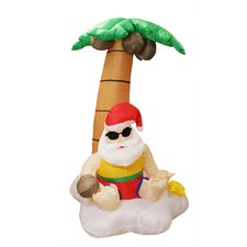 5.5' Inflatable Santa Claus and Palm Tree Tropical Lighted Christmas Decoration