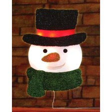 Lighted Tinsel Snowman with Top Hat Christmas Window Silhouette Decoration