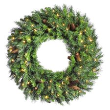 "24"" Lighted Artificial Cheyenne Pine Christmas Wreath"