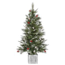 4' Frosted Pine Cone and Berry Potted Artificial Christmas Tree