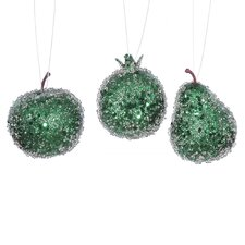3 Piece Beaded Sequin and Glitter Pear Apple and Pomegranate Fruit Christmas Ornament Set
