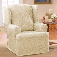 Scroll Classic Wing Chair T Cushion Skirted Slipcover  by Sure Fit