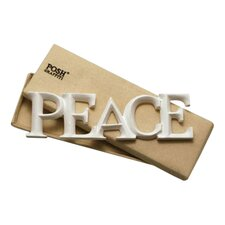 PEACE Old English Handcarved Wooden Words Wall Art