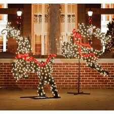 Giant Commercial Grade LED Lighted Leaping Reindeer Topiary Christmas Decoration