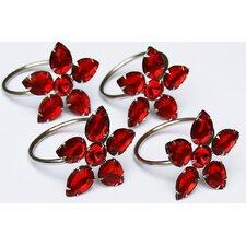 Crystal Flower Metal Napkin Ring (Set of 4)