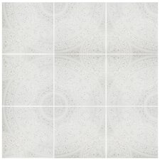 "Majorelle 12.5"" x 12.5"" Ceramic Patterned/Field Tile in White/Gray"