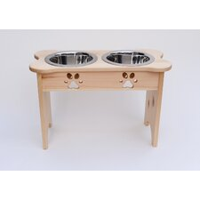 Carved Paws Tall Double Bowl Elevated Feeder