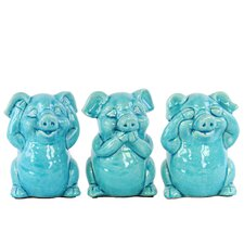 Ceramic Standing Pig No Evil 3 Piece Figurine Set